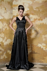 Brush Train Satin Sequins Evening Celebrity Dress Black