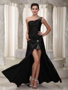Black One Shoulder Floor-length Beading Evening Dress