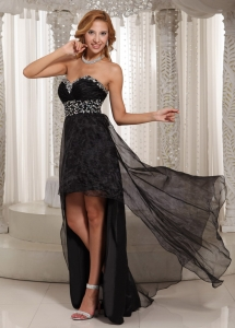 Black High-low Sweethart Beaded Pageant Evening Dress