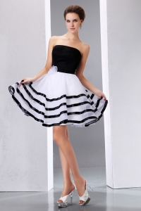 Black and White Strapless Cocktail Dresses Hand Made Flower