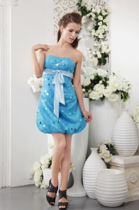 Blue Strapless Short Sequins Prom Cocktail Dresses