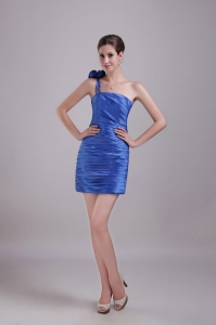 Blue Cocktail Dresses One-shoulder Mini-length