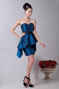 Sweetheart Mini-length Blue Prom Homecoming Dress