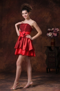 Bowknot Wine Red Mini-length Strapless Cocktail Dresses