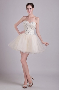 Champagne Cocktail Dresses Sweetheart Short Beading