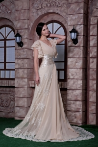 V-neck Champagne Sweep Train Pageant Dress Lace