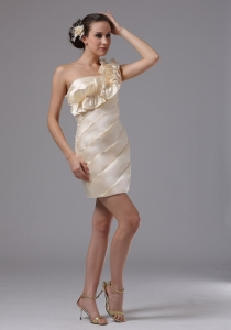 One Shoulder Champagne Prom Dress Hand Made Flowers