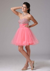 Cute Watermelon Prom Graduation Dress A-line Beaded Decorate