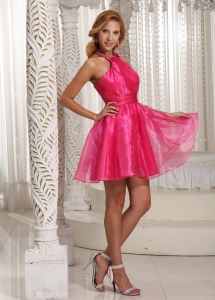 Halter Hot Pink Mini-length Prom Dress Beading Custom Made