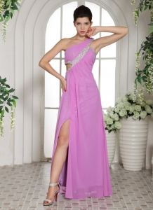 Slit Lavender One Shoulder Prom Celebrity Dress Ruch Beading