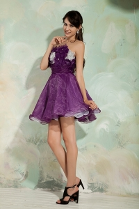 Dark Purple A-line Prom Cocktail Dresses Princess Strapless