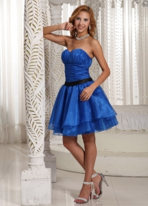 Prom Dress Sweethart Peacock Blue Mini-length