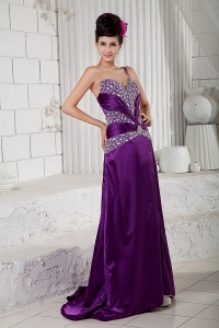 Eggplant Purple One Shoulder Beading Evening Dress Brush Train