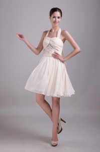 Halter Knee-length Beading Light Pink Cocktail Dresses