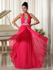 Hot Pink Halter Pageant Celebrity Dress Zipper-up