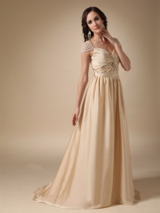 Sweetheart Brush Train Prom Evening Dress Champagne