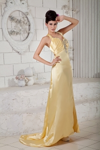 Brush Train Straps Beading Prom Evening Dress Light Yellow