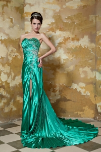 Green Strapless Court Train Satin Beading Evening Dress