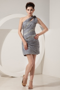 Grey One Shoulder Mini-length Beading Prom Dresses