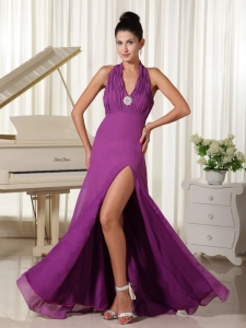 Halter High Slit Purple Evening Dress Floor-length