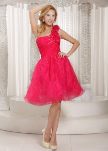 Hand Made Flowers Coral Red One Shoulder Prom Dress