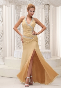 High Slit Beaded Halter Ruched Champagne Pageant Dress