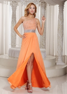 High Slit One Shoulder Orange Beaded Pageant Evening Dress