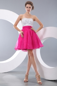 Beaded Hot Pink Strapless Mini-length Organza Prom Dresses