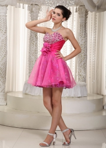 Hot Pink Mini-length Beading Prom Dress Sweetheart