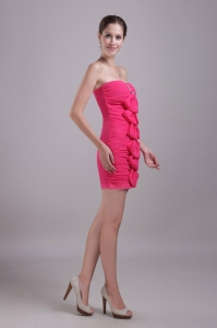 Hot Pink Strapless Prom Cocktail Dresses Beading