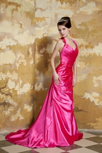 Straps Court Train Beading Evening Celebrity Dress Hot Pink