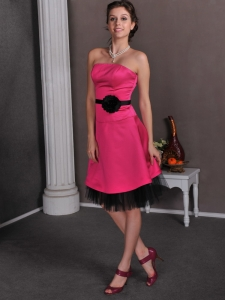 Strapless Knee-length Hand Made Flowers Hot Pink Cocktail Dress