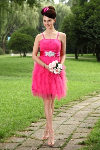 Hot Pink Straps Mini-length Homecoming Dress