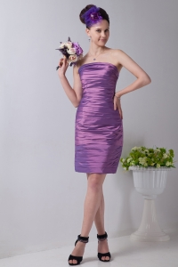 Mini-length Ruch Homecoming Dress Lavender Strapless
