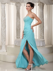 Sweetheart Floor-length Aqua Blue Beading Evening Dress