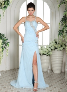 High Slit Spaghetti Straps Light Blue Brush Train Prom Dress