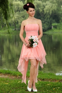 Mini-length Light Pink Strapless Homecoming Dress Beading