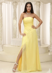 Light Yellow High Slit Pageant Celebrity Dress Stapless Chiffon