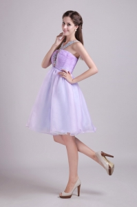 A-line V-neck Knee-length Beading Lilac Cocktail Dresses