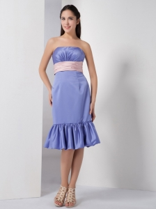 Lilac Strapless Knee-length Ruch Prom Graduation Dress
