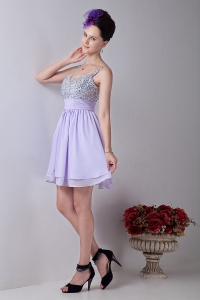 Straps Mini-length Chiffon Beading Lilac Homecoming Dress