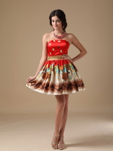Multi-color Strapless Mini-length Prom Holiday Dresses
