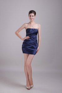 Strapless Mini-length Beading Homecoming Dresses Navy Blue