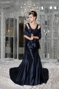 Navy Blue Scoop Brush Train Beading Prom Evening Dress