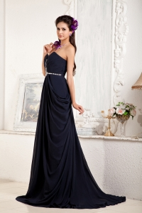 Navy Blue Sweetheart Beading Evening Dress Brush Train