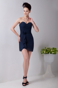 Hand Made Flower Homecoming Dress Navy Blue Sweetheart