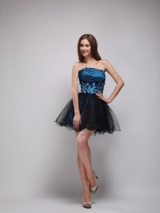 Navy Blue and Black Strapless Mini-length Prom Dress