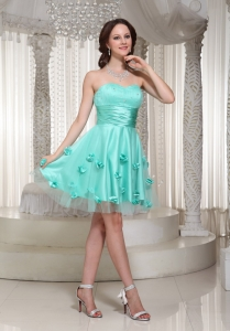 Cocktail Dress Apple Green for Homecoming with Flowers