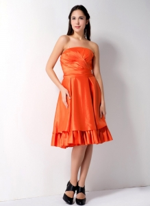 Strapless Orange A-line Knee-length Ruch Cocktail Dress