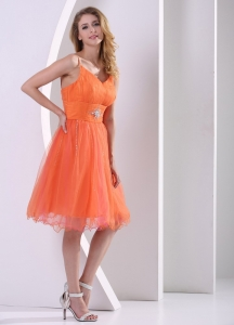 Orange Red Spagetti Straps Cocktail Dresses With Beding Ruch